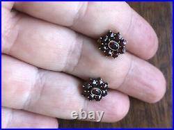 Vintage Antique Bohemian Garnet Gold Plated Silver drop, screw back earrings