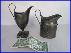 Vintage Antique Hallmarked Coin Silver Plate Creamer Sugar Bowl I. V