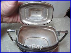 Vintage Antique Lion Foot Hallmarked Coin Silver Plate Creamer Sugar Bowl
