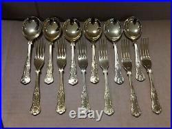 Vintage Antique Sheffield England Gold Plated Hollywood Glam Flatware Set In Box