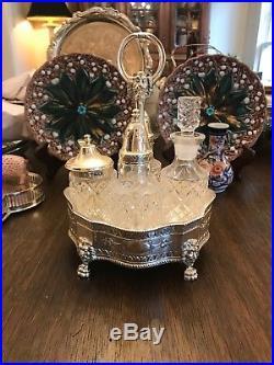Vintage Antique Silver Plate Footed Cruet Set/Condiment Set