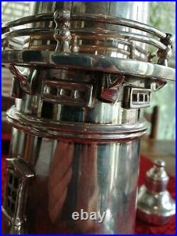 Vintage Antique Silver Plate Lighthouse Cocktail Shaker Drinks Mixer Bar Pub