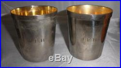 Vintage/Antique Silver Plate Travel Cups Set Of 4 With Leather Case'J. F. H