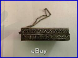 Vintage Art Deco Enamel Silverplate Compact With Wrist Chain
