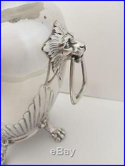 Vintage Art Deco Silverplate Champagne Wine Ice Bucket Lion Handles Naken Bag