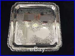 Vintage Barker Ellis English Silverplate Square Tray, 12 1/2 x 12 1/2