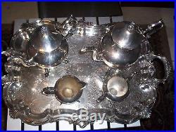 Vintage Birmingham Silver Company Butlers Serving Tray Set-Tea/coffee pot-5pcs