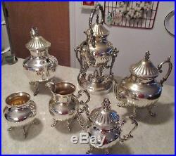 Vintage Birmingham Silver On Copper Coffee & Tea Server Set 6 Pcs