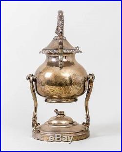 Vintage Birmingham Silver on Copper Tea Kettle & Warmer Grapes Leaves BSC Ornate