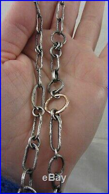 Vintage Bjorg chain link textured necklace silver 925 Brass 18K Gold Plated
