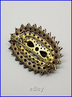 Vintage Bohemian Garnet Brooch Earrings Set Silver 900 Gold plated 3-tier