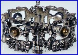 Vintage Brutalist Bracelet Robert Larin Canada 1960s Modernist Silver Plated Pew