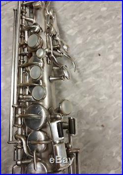Vintage Buescher True Tone Soprano Saxophone original silver plate