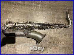 Vintage Buescher True Tone Tenor Saxophone Silver Plate (1925) Bundle