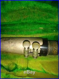 Vintage C. G. Conn Silverplate Metal Clarinet No. B215192L Elkhart Indiana