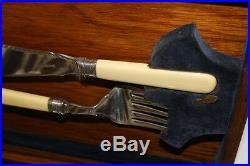 Vintage CB&S Sheffield Silver Plated Fish Servers Cutlery Set in Oak PL3636