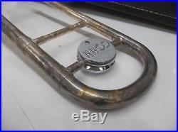 Vintage CG CONN LTD VICTOR rare 5H trombone silver plate, original case GOOD