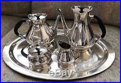 Vintage COHR Silverplate Coffee &Tea Set & Tray Denmark Hans Bunde Danish Modern