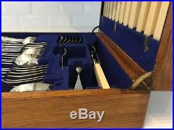 Vintage Canteen of Cutlery Sheffield Silver Plate EPNS 1940s Oak Box 48-Piece c3