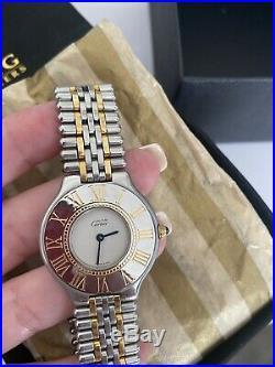 Vintage Cartier Must De 21 Quartz 18k Gold Plated & Stainless Steel 34mm Watch