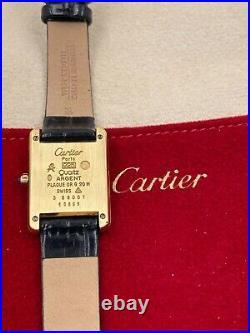 Vintage Cartier Must de 925 and 18K Vermeil Quartz Watch with Travel Pouch