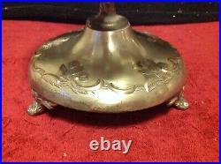 Vintage Cobalt Blue Etched Glass Crystal Cruet Castor Set Silver Plated Holder