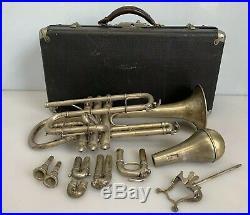 Vintage Conn Cornet Trumpet Shepherd's Crook Pat. 1907 Silverplate/Brass