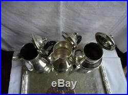 Vintage Continental Silver Plated Tea/Coffee/Chocolate Set 8 Pieces incl. Tray