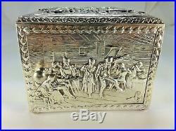 Vintage Cross London Revolving Door Silverplate Repousse Cigarette Box