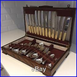 Vintage Cutlery Canteen Sheffield Silver Plate EPNS 30s 40s Oak Box 50-Piece (C)