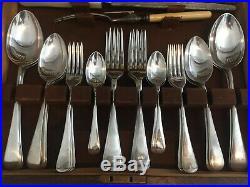 Vintage Cutlery Canteen Sheffield Silver Plate EPNS Art Deco Oak Box 43-Piece c1