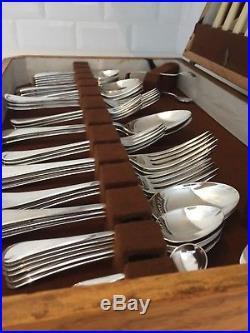 Vintage Cutlery Canteen Sheffield Silver Plated EPNS 1940s Oak Box 54-Piece (A)