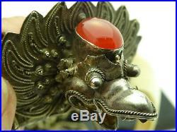 Vintage Double Boars Tooth Silver Plated Garuda Carnelian Gemstone Necklace 28