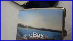 Vintage Enamel Silver Plate Cigarette Case Swedish Rowing Olympics Sporting