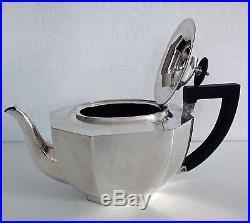 Vintage English Art Deco Modern Wooden Handle Epsn A1 Grade Silver Tea Pot