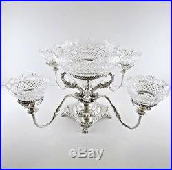 Vintage English Silver Plate Epergne Centerpiece Tazza and Cut Crystal Bowls
