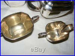 Vintage Epns Silver Plated Art Deco Teapot Coffee Pot Sugar Bowl & Milk Jug