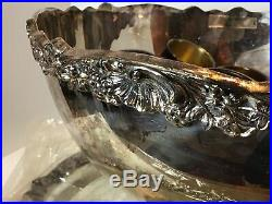 Vintage F B ROGERS Silver MASSIVE Silver Plate PUNCH BOWL SET TRAY MUGS Unused