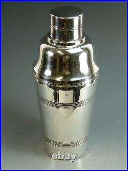 Vintage FRENCH Silver Plate Art Deco Cocktail Shaker 8 1/2
