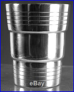 Vintage FRENCH Silver Plate Set of 8 Art Deco Cocktail Tumblers / Cups