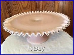 Vintage Fenton Art Glass Silver Rose (pink) Crest Pedistal Cake Plate