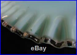 Vintage Fenton Art Glass Turquoise Silver Crest Footed Cake Plate Stand