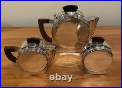 Vintage French Art Deco Silver Plate 3 Piece Tea Set by Escapade Paris