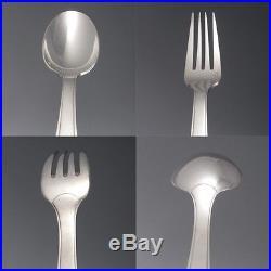Vintage French Christofle Silver Plate Flatware Set, Loti Pattern Art Deco 1940
