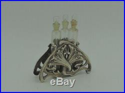 Vintage French Depose Silver Plate Art Deco Perfume Bottles/Viles Holder Dauber