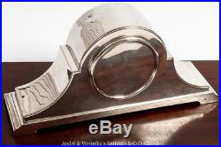 Vintage French MANTEL CLOCK Silver Plate Brass Platform Movement 1940's Art Deco