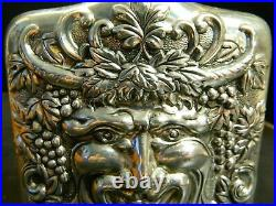 Vintage Godinger Silver Plate Repose Relief Bacchus Face Flask (1983) Excellent