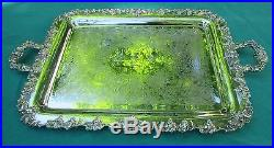 Vintage Grape Pattern 18 Waiter Serving Tray By International Silver Plated