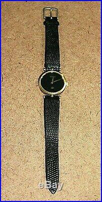 Vintage Gucci 18k Gold Plated Men's Black Dial Swiss Quartz Watch 2000M 030WEI