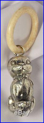 Vintage Heavy Silverplate Kitty Cat Baby Rattle Teething Ring Marked Denmark